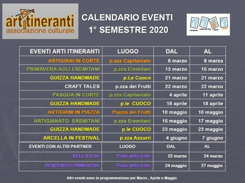 Calendario primo semestre 2020